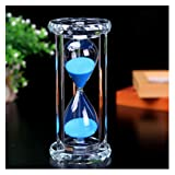 SZAT Hourglass Sand Timer Clock Romantic Mantel Office Desk Coffee Table Book Shelf Curio Cabinet Christmas Birthday Present Gift Box Package(Blue,Crystal,30 Minutes) (Color: Crystal Blue 30 Minutes)