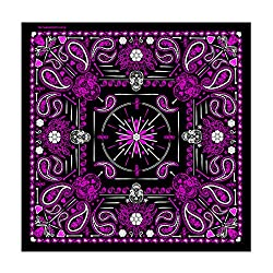 """Hot Leathers Signature Bikers Bandanas Collection Original Design, 21"""" x 21"""" - BANDANA LADY PINK PAISLEY SKULL from Officially Licensed & Trademarked Products"""