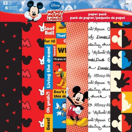 Disney Papier Pack 12 « X 12 » 12 Feuilles-Mickey & Friends 0067901323485