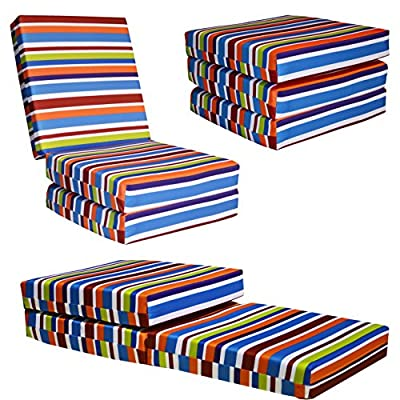 KIDS CHAIRBED - BLUE STRIPE Kids Folding Chair Bed Futon Guest Z bed Childrens