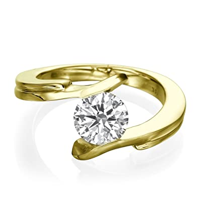 Solitaire Diamond Engagement Ring 0.50 CT Round Cut Main Stone E-F/I1-I2 18ct Yellow Gold