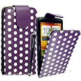 CONTINENTAL27 For HTC One X / HTC One X Plus New Design Polka Dot Purple Printed Stylish PU Leather Vertical Flip Magnetic Closure Secure Phone Case Cover + Free Stylus Pen And Screen Guard