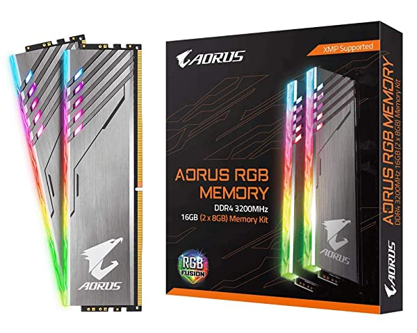 Gigabyte AORUS RGB Memory 3200MHz DDR4 16GB (2x8GB) Kit PC Memory GP-AR32C16S8K2HU416R (Tamaño: 16 Gb)