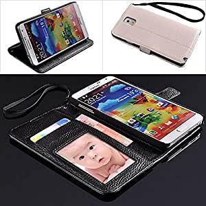 Litchi Grain PU Leather Purse Wallet Case Cover w/ Card Slots / Stand for Samsung Galaxy Note 3 N9000 - 5 Colors