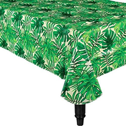 Amscan Hawaiian Tropical Luau Island Palm Flannel-Backed Table Cover (1 Piece), Green, 15 x 9.7