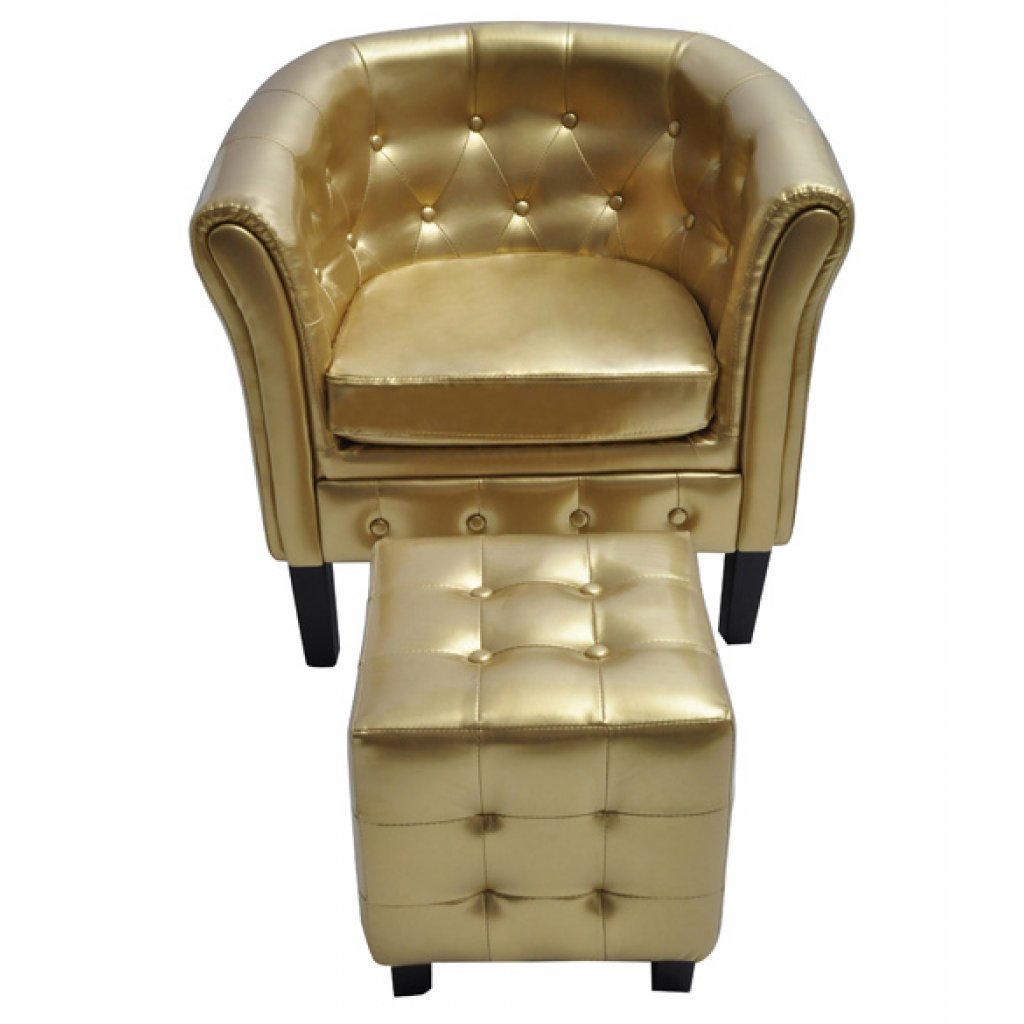 Festnight Club Tub Chair and Ottoman Armchair Artificial Leather 27.4 x 24.4 x 28 in. White/ Gold