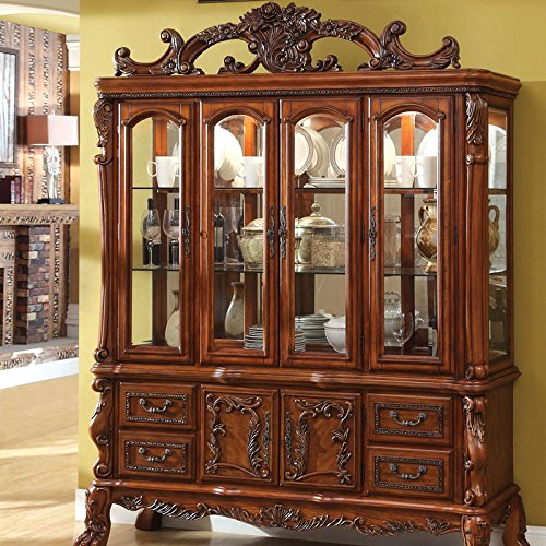 Oak Dining Room Sets With Hutch: Medieve English Style Antique Oak Finish Formal China