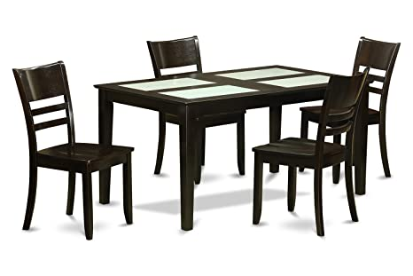 East West Furniture CALY5G-CAP-W 5-Piece Dining Table Set