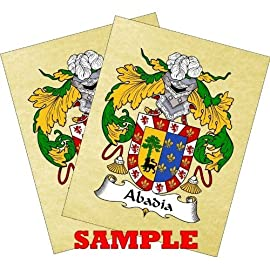 Hinterberger Coat of Arms Print / Family Crest Parchment 8 1/2 X 11 Inches + Free Bonus Print.