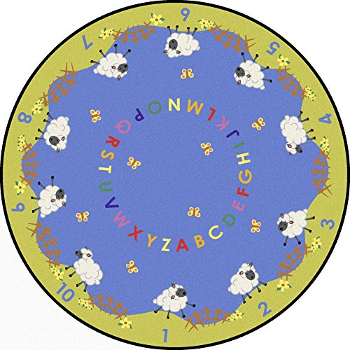Joy Carpets Kid Essentials Infants & Toddlers Round Lamby Pie Rug, Multicolored, 7'7""