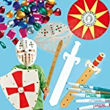 Knights Super Value Pack! Save 51% when bought in pack! Become a knight in shining armour! Includes 4 shield card blanks, 6 sword card blanks, 6 helmet face mask blanks, 120 self-adhesive gems and 5 Giotto metallic decor pens.