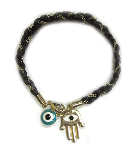 Golden Alloy Hamsa/Hand of Fatima and Turquoise Evil Eye Charm