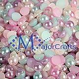 MajorCrafts 1440pcs 4mm Pastel Mixed Colours Flat Back Half Round Resin Pearls