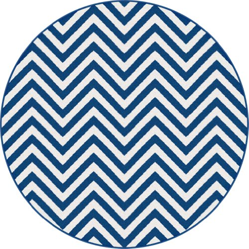 Universal Rugs Metro 1017 Round Contemporary Area Rug, 5-Feet 3-Inch, Navy back-632801