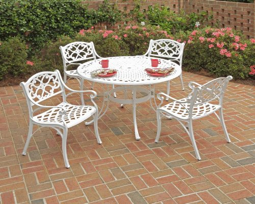 Home Styles 5552-328 Biscayne 5-Piece Outdoor Dining Set with Round Table and Arm Chair, White Finish, 48-Inch picture