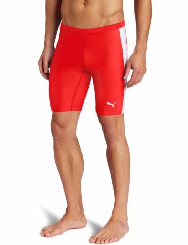 PUMA Puma Men's Tb Running Short Tight (Puma Red Stripe, X-Large)