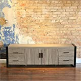 "70"" Modern Industrial Wood TV Stand Console Ash Grey Reclaimed Look with Powder coated Black Trim"