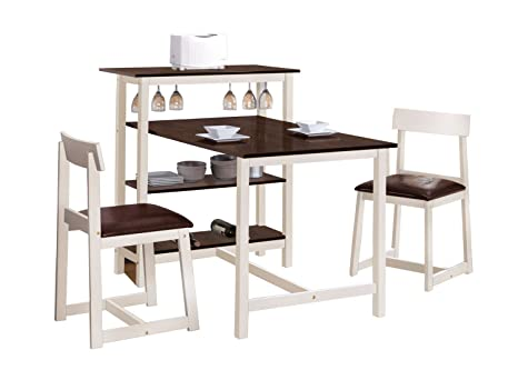 Acme 60213 Halle White & Espresso Finish Counter Height Dining Table Set