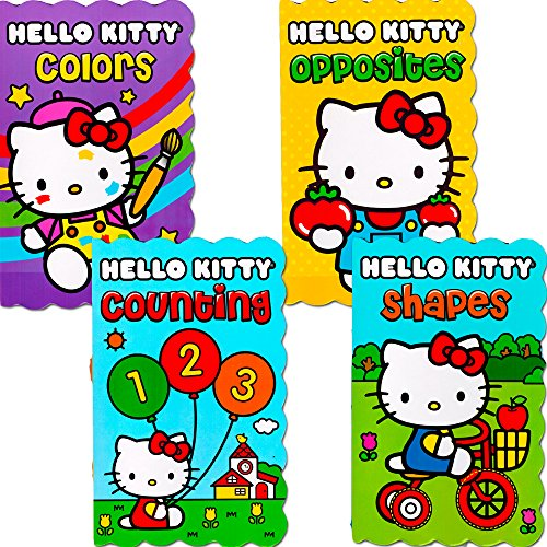 Hello-Kitty-Board-Books-Set-of-Four-My-First-Books-for-Toddlers-Numbers-Shapes-Colors-and-Opposites