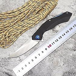 2016 New Arrival Hot Sale Tactical Folding Knife D2 Blade G10 Handle Blue Moon Outdoor Survival Camp hunt utility Knife Pocket Knives EDC hand Tools (SCHWARZ)