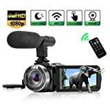 Camcorder Digital Video Camera, Camcorder with Microphone WiFi IR Night Vision Full HD 1080P 30FPS 3