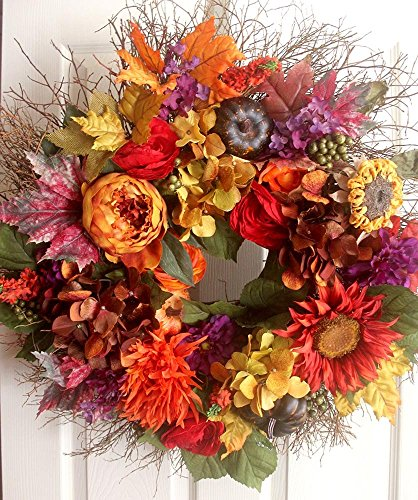 Extra large fall hydrangea floral wreath, door wreath, wedding wreath, shabby chic wreath, hydrangea wreath, autumn wreath, winter wreath