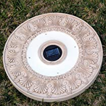 Big Sale Homebrite Solar Power Round White Wash Stepping Stones - Set of 3
