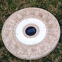 Big Sale Homebrite Solar Power Round White Wash Stepping Stones - Set of 3