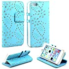 myLife Sky Blue {Flower Gem Design} Faux Leather (Card, Cash and ID Holder + Magnetic Closing) Slim Wallet for the iPhone 5C Smartphone by Apple (External Textured Synthetic Leather with Magnetic Clip + Internal Secure Snap In Hard Rubberized Bumper Holder)