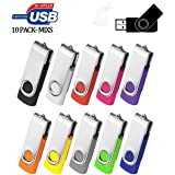 1GB USB Flash Drive 10 Pack, ARETOP Premium USB2.0 Classic Swivel USB 2GB Flash Drive Pen Drive Memory Stick Thumb Drive Bulk Jump Drive Pack 10PCS Computer Data Storage USB Pendrive, Mix Colors (Color: Mixcolors-10PCS, Tamaño: 1GB)