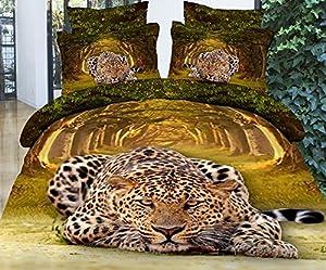 Lovelyou Leopard 100% Cotton Queen Size 3d Print Bedding Set (1 Duvet Cover + 1 Bed Sheet + 2 * Pillow Case)