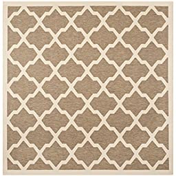 Safavieh Courtyard Collection CY6903-242 Brown and Bone Indoor/ Outdoor Square Area Rug, 5 feet 3 inches Square (5\'3\