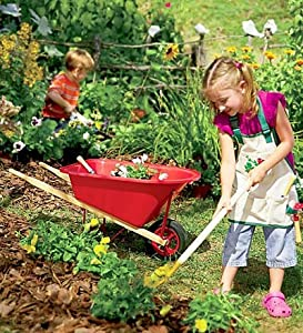 "Red-Poly Child's 33"" Wheelbarrow"