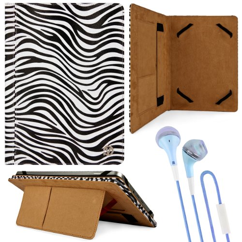 Black & White Zebra Design Vg Faux Leather Standing Portfolio Case Cover For Fujitsu Arrows Ipx5 / Ipx8 / Fujitsu Arrows Qh55 / Q582 10.1 Inch Tablets + Blue Handsfree Hifi Noise Isolating Stereo Headphones With Windscreen Microphone And Soft Silicone Ear front-938934