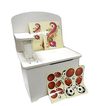 Petto R scrivania per bambini 3in 1in legno, sedia da scrivania, unità di memorizzazione