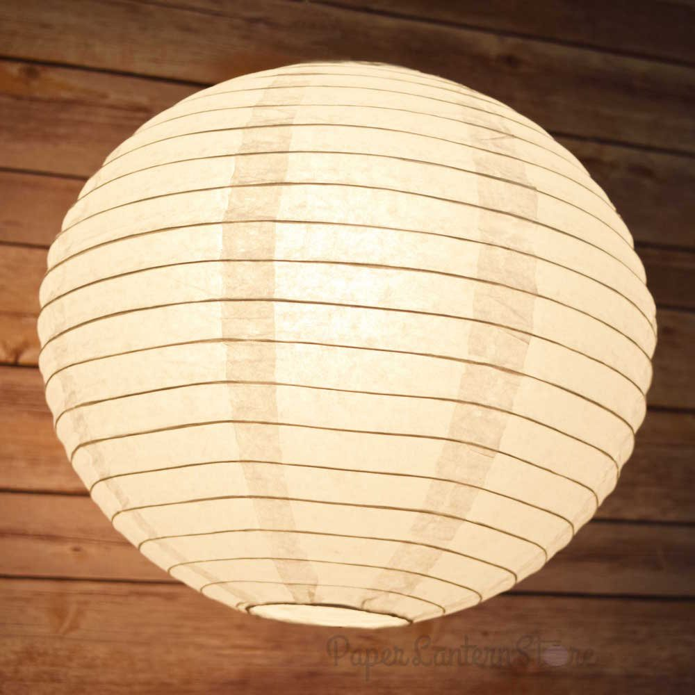 "PaperLanternStore.com 24"" White Round Paper Lantern, Even Ribbing, Hanging Decoration"