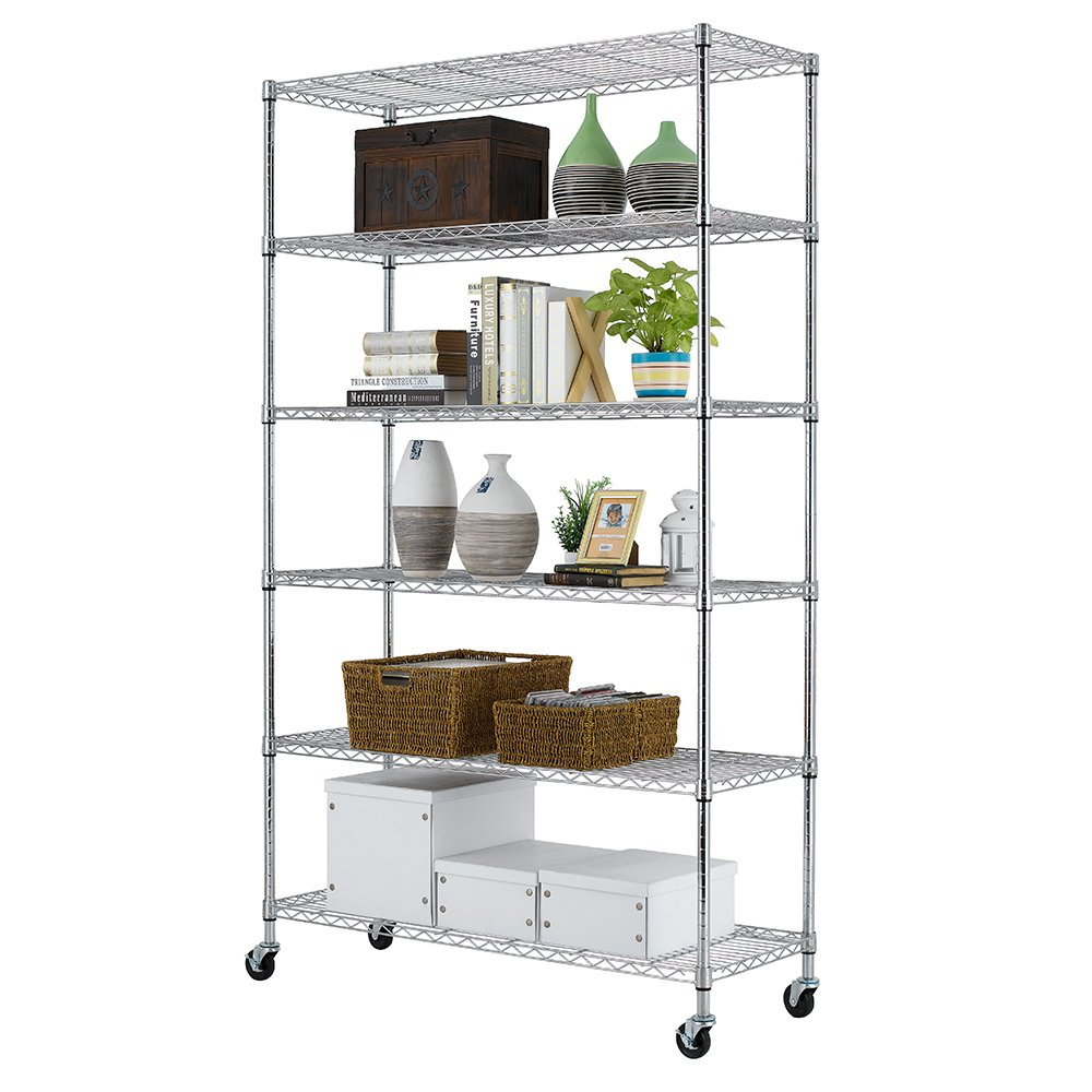 paylesshere chrome 6 shelf commercial adjustable steel shelving systems on wheels wire shelves. Black Bedroom Furniture Sets. Home Design Ideas