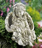 Barefoot Angel & Bunny Rabbit Garden Sculpture By Collections Etc