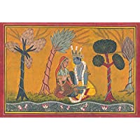 Exotic India Radha Krishna In The Basholi Idiom - Watercolor On Paper
