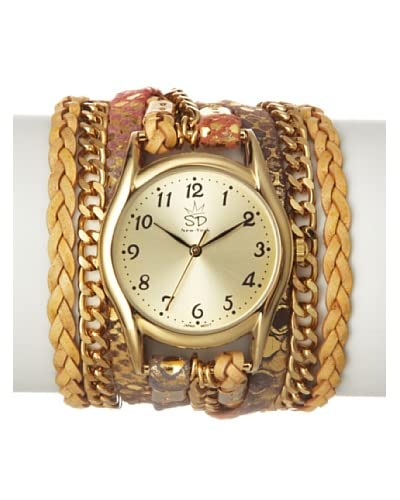Sara Designs Women's W07L-P Multi-Metallic Print Party Italian Leather Wrap Watch