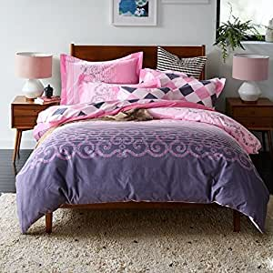 lt twin full queen size 100 cotton violet purple pink gray plaid boho style. Black Bedroom Furniture Sets. Home Design Ideas