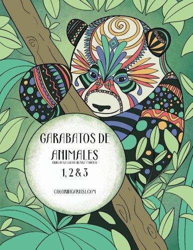 Garabatos de animales libro para colorear para adultos 1, 2 & 3
