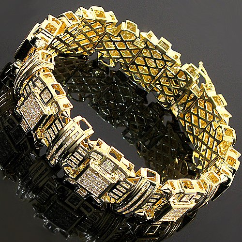 14K Yellow Gold Mens Diamond Bracelet 16.20 Ctw