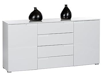 """Sideboard Standschrank Anrichte Kommode Highboard Beistellkommode """"Suzette I"""" Weiß/Weiß-Hochglanz"""