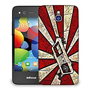 Snoogg Red And White Joystick Designer Protective Back Case Cover For INFOCUS M2