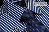 Collar and Cuffs London - High Quality 100% Cotton - Fit Guaranteed - SHIRT AND TIE SET - Stratford Navy Blue with White Stripe - Twill Weave - Men's Shirt - Long Sleeve - Slim Fit, Double Cuff - Striped Pattern