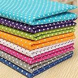 KINGSO 7PCS Cotton Fabric Bundles Quilting Sewing DIY Craft 19.7x19.7inch Polka Dot