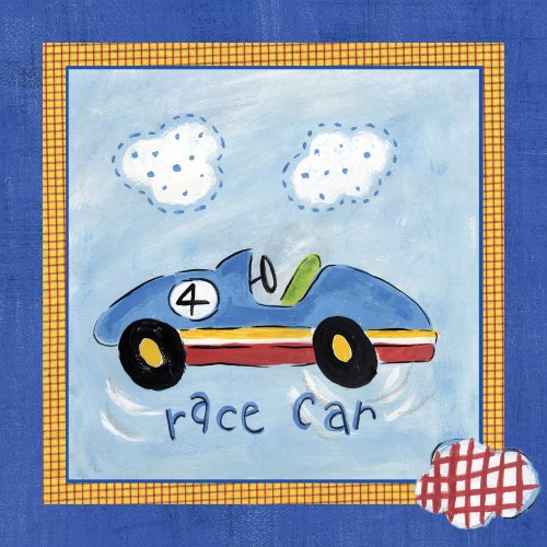 "Art 4 Kids ""Go Man Go Race Car"" Mounted Art Print, 12""X12"""