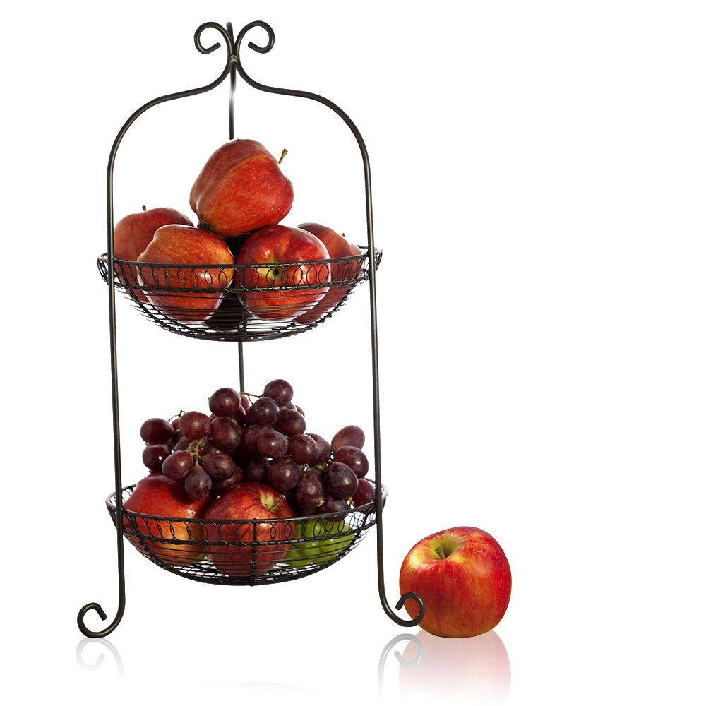 Kitchen Fruit Vegetable Holder Baskets 2 Tier Dining Table
