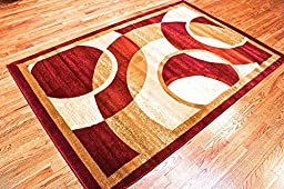 Summit #15 New Area Rug Burgundy Beige Modern Abstract Rug Many Sizes Available 2x3 2x7 4x6 5x8 8x10 (2x7 actual is 22\'\'x7\')